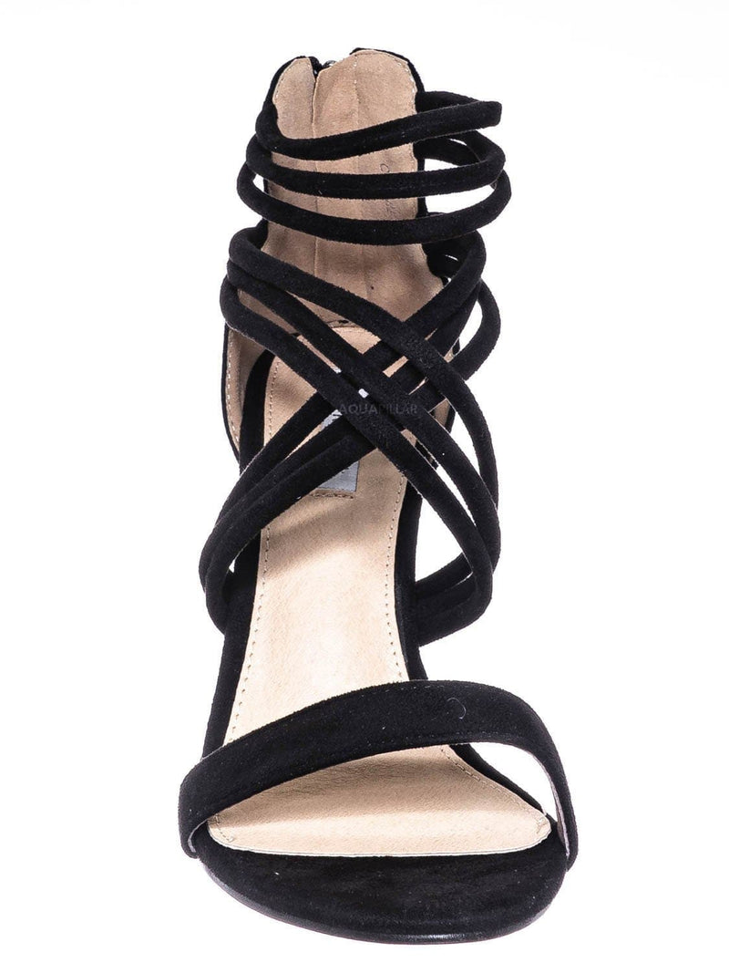 Black / Connie16 High Stack Block Heel Strappy Sandal - Womens Open Toe Dress Shoes