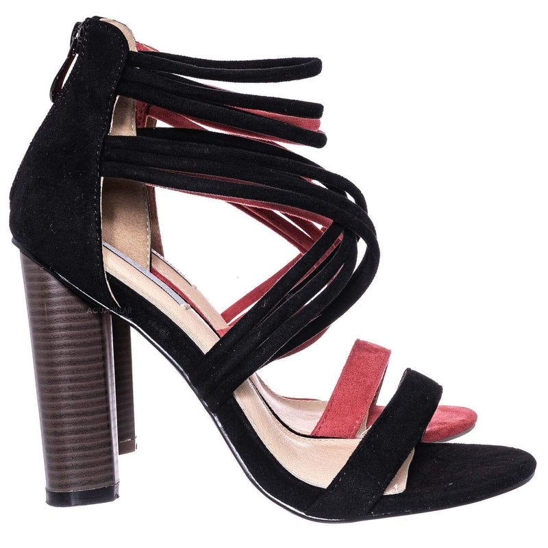 Connie16 High Stack Block Heel Strappy Sandal - Womens Open Toe Dress Shoes