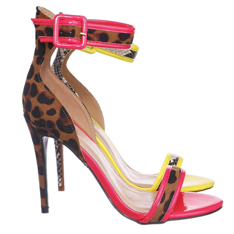 Leopard Pink / Dashing19 LeoFs Neon Pipping High Heels - Women 2 Piece Open Toe Sandal w Ankle Strap