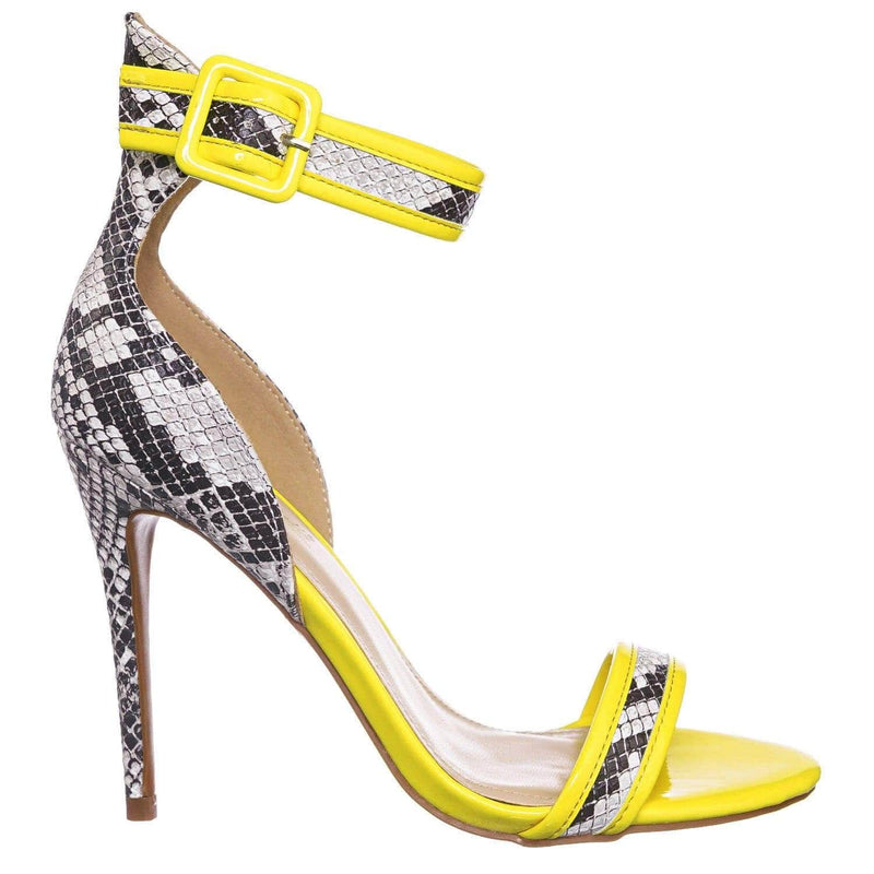 Snake Yellow / Dashing19 BlkSnk Neon Pipping High Heels - Women 2 Piece Open Toe Sandal w Ankle Strap