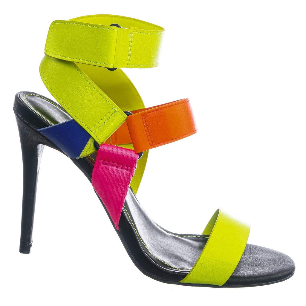 Neon Yellow Multi / Dashing32 NYlwMul Sporty Color Block Sandal - Women Hook and Loop Gladiator Straps