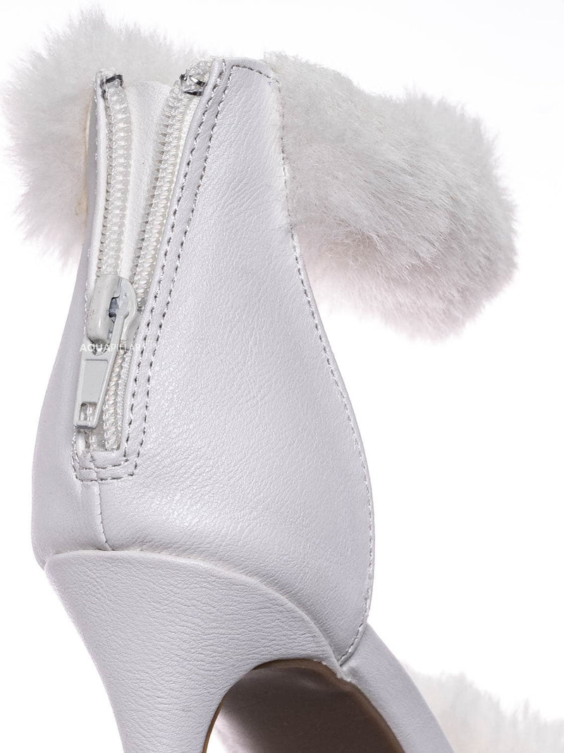 White / Dashing47 Faux Fur High Heel Stiletto Sandal - Synthetic Fluffy Dress Shoes