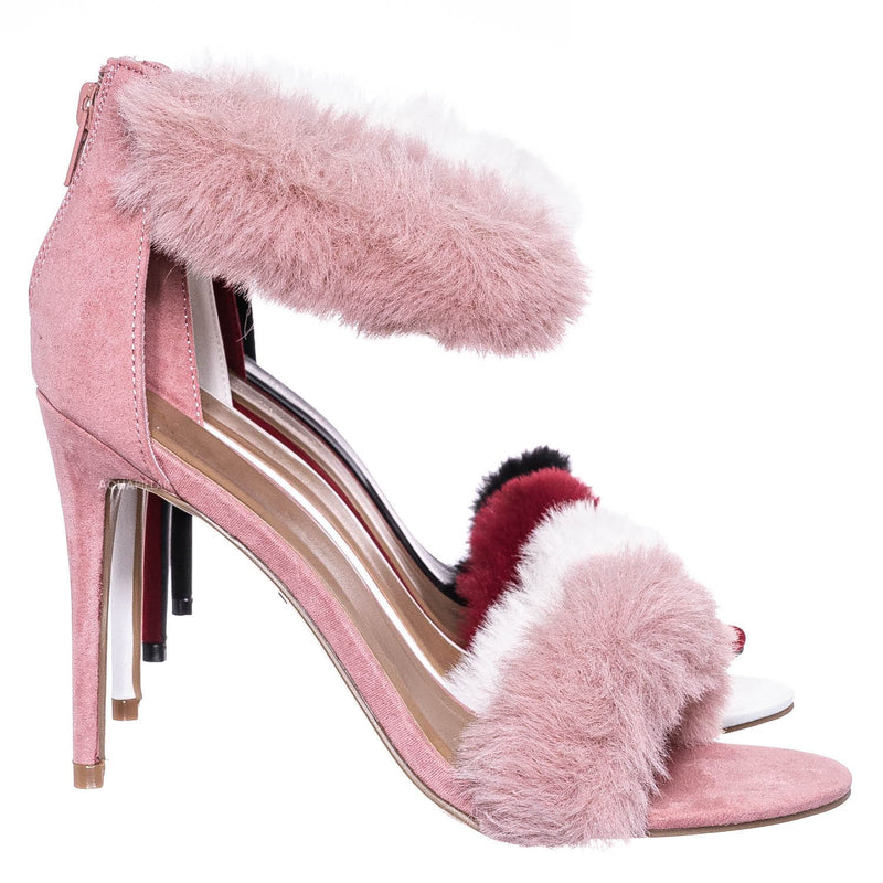 Blush Pink / Dashing47 Faux Fur High Heel Stiletto Sandal - Synthetic Fluffy Dress Shoes