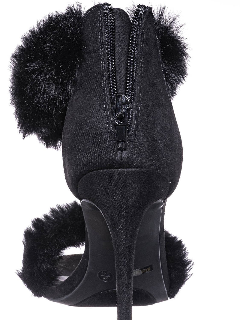 Black / Dashing47 Faux Fur High Heel Stiletto Sandal - Synthetic Fluffy Dress Shoes