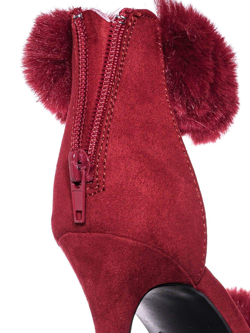 Red / Dashing47 Faux Fur High Heel Stiletto Sandal - Synthetic Fluffy Dress Shoes