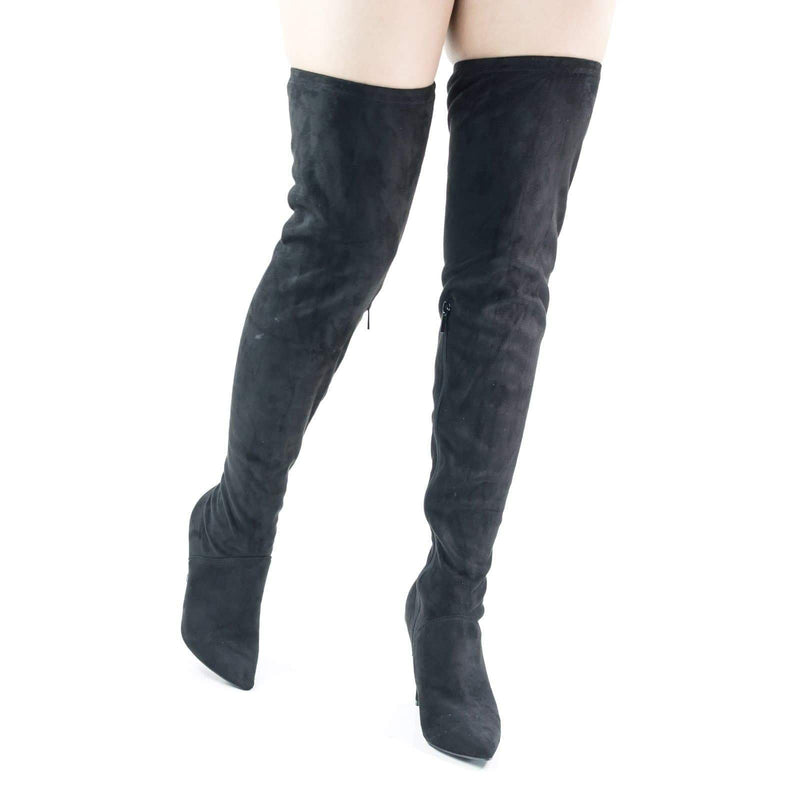 Dedicate05 Black by Anne Michelle, Stretchy Pull Over High Heel Knee High Dress Boots w Elastic Shaft