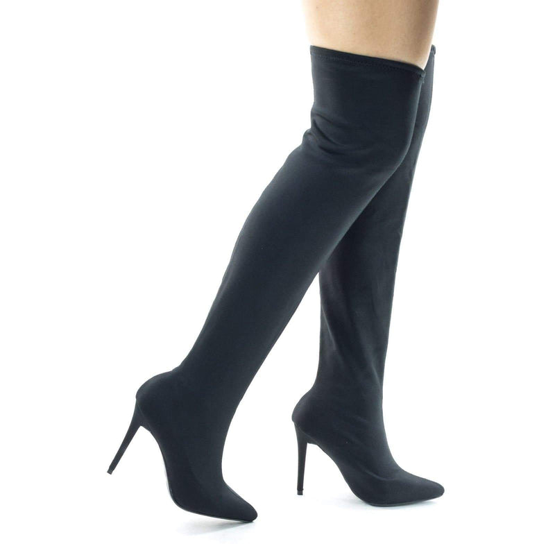 Dedicate57 Stretchy Knee High Stiletto Heel Dress Boots