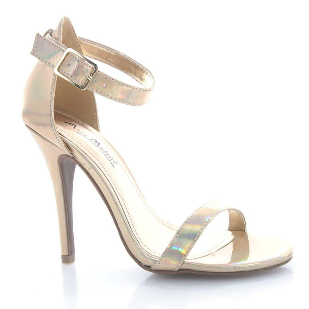 Enzo01X Gold Pu By Anne Michelle, Iridescent Stiletto Sandal Strap Ankle Dance Prom Dress Heel