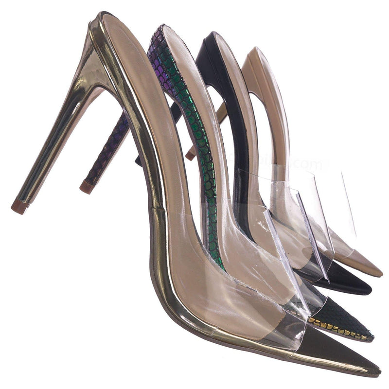 Exception02   Clear Lucite Transparent Open Pointed Toe Mule Slipper Sandal