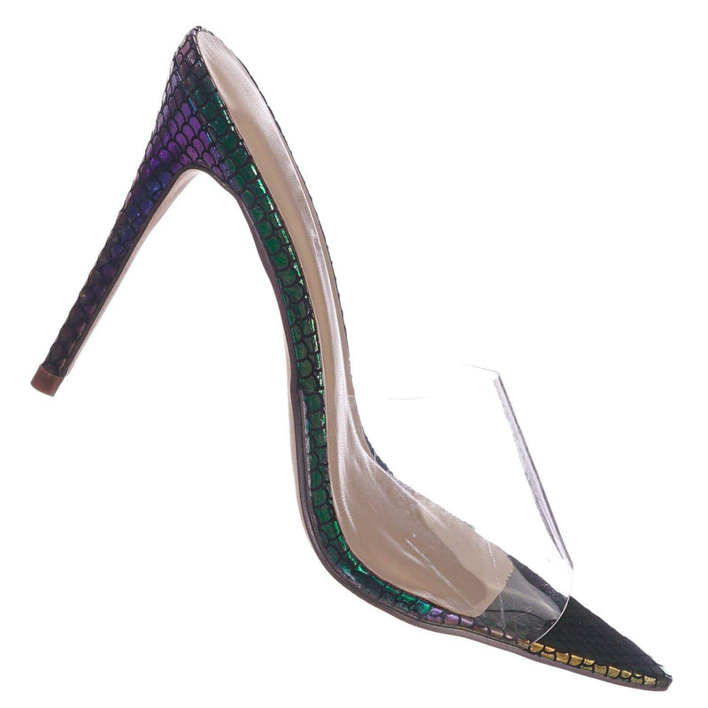 Exception02 MulSnk  Clear Lucite Transparent Open Pointed Toe Mule Slipper Sandal
