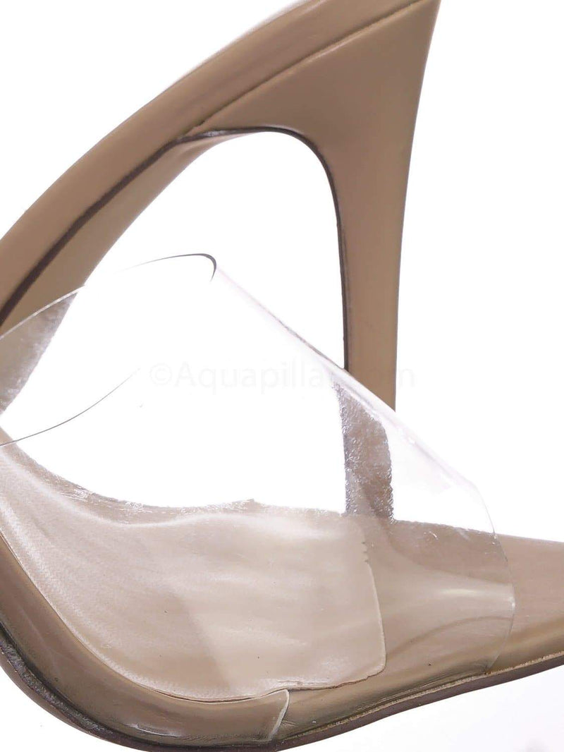 Exception02 NudeP  Clear Lucite Transparent Open Pointed Toe Mule Slipper Sandal