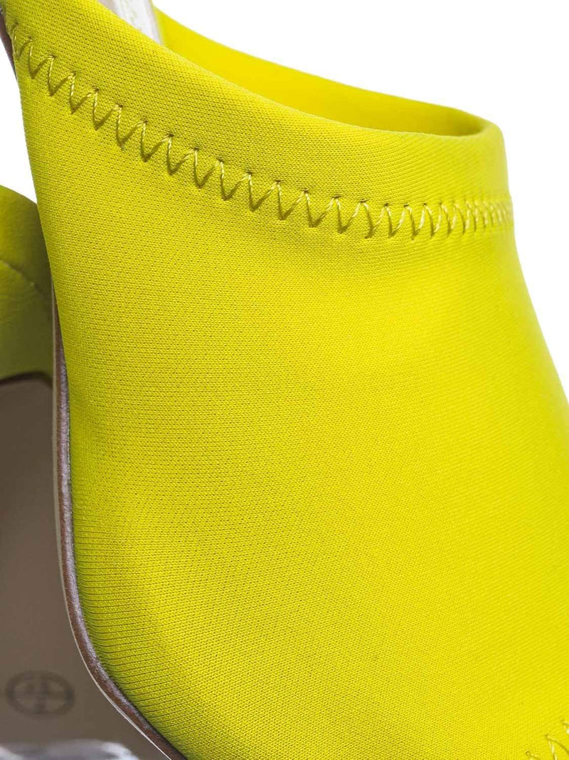 Neon Yellow / Exception25 NYlwLyc Pointed Peep Toe Mule - Women Slide Slipper High Heel Slippers