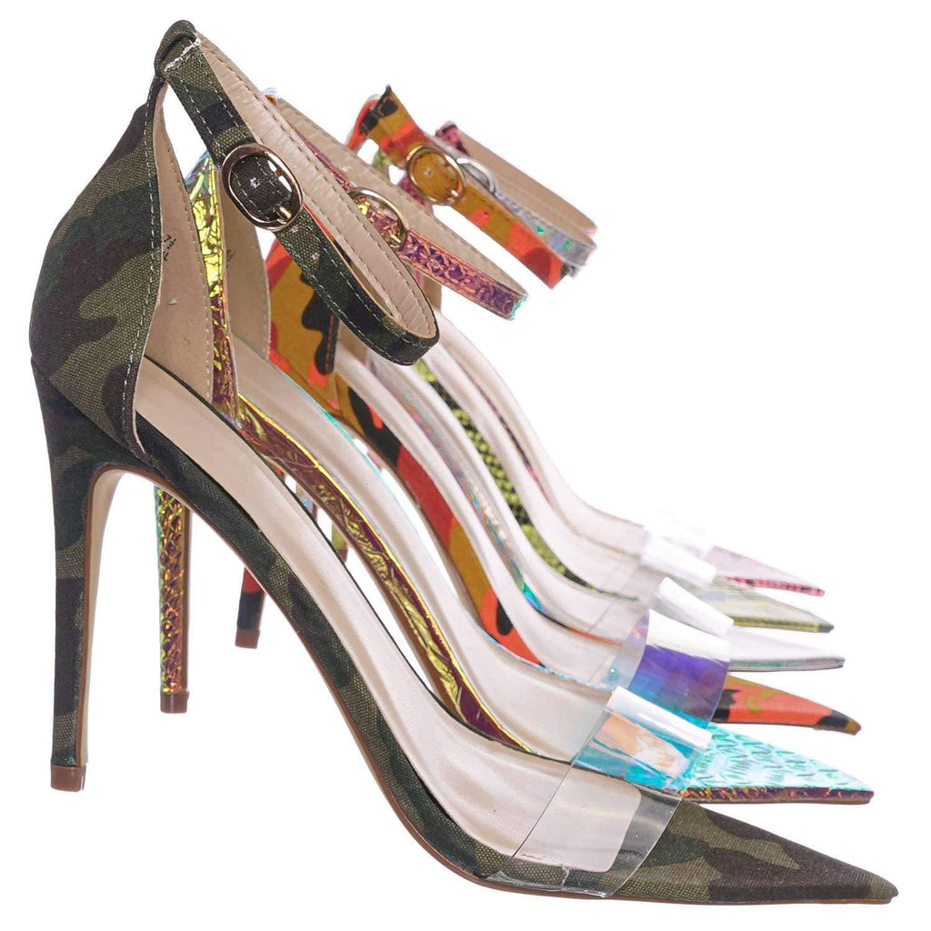 Green Camouflage / Exception28 GrnCam Lucite Clear High Heel Sandal - Pointed Open Toe Ankle Strap Shoe
