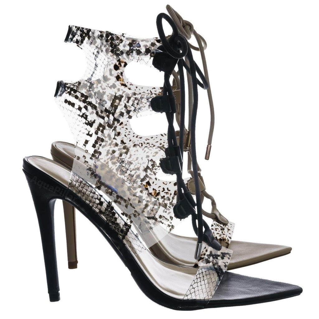 Exception35 SnkPvc Pointed Toe Gladiator Ghillie Sandal - Women Clear Snake Lace Up