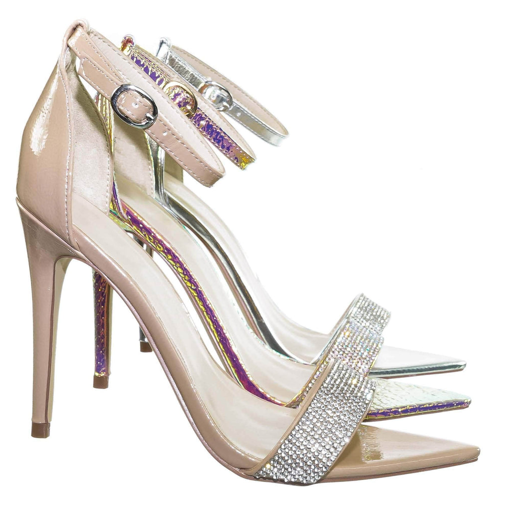 Nude Beige Patent / Exception48 Nude Beige Patent Rhinestone Crystal Pointy Open Toe Sandal - Women Evening Dress Shoe