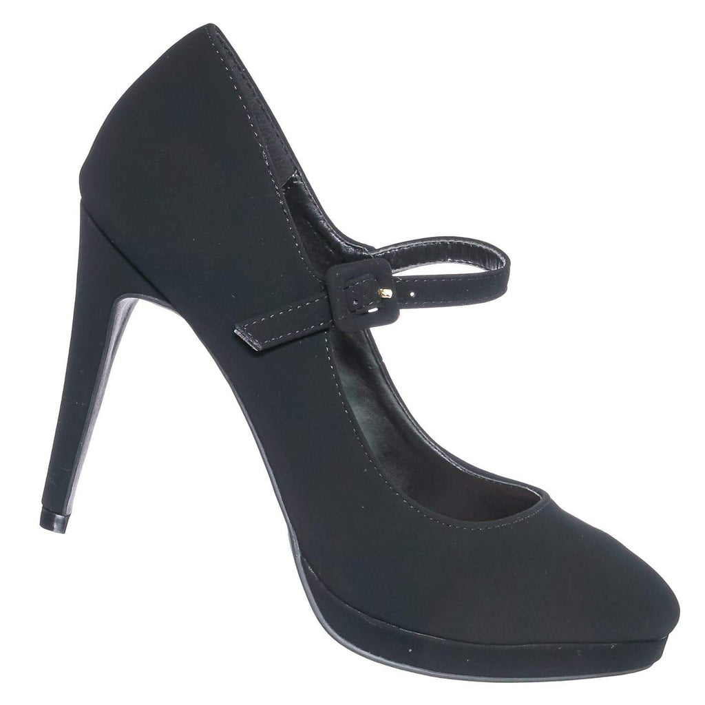 Black Nubuck / Fave02 BlkNub High Heel Mary Jane Pump - Women Almond Closed Toe w Platform Office Shoe