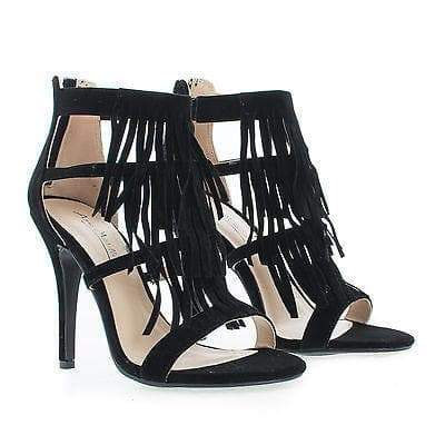 Girltalk01 Black By Anne Michelle, Pleaded Fringe Open Toe Stiletto Heel Sandals