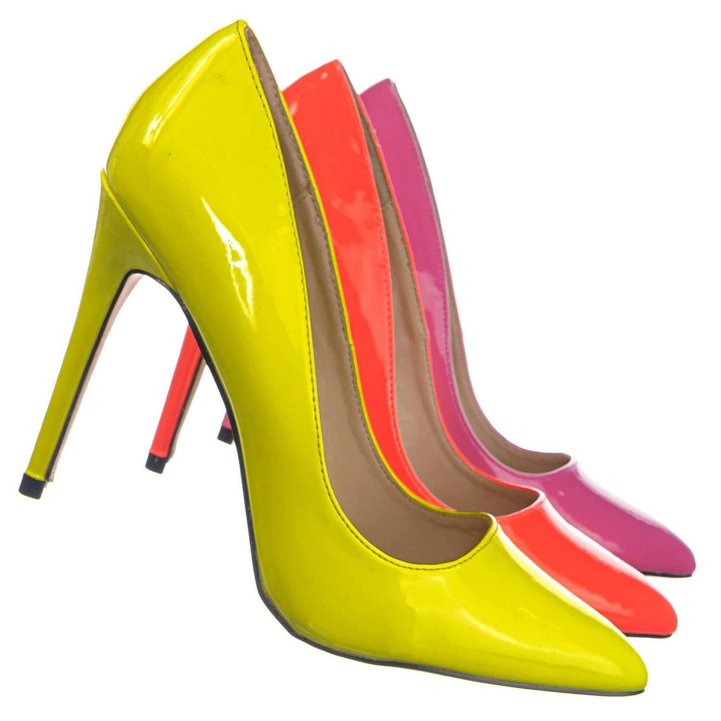 Neon Yellow Patent / Hibiscus27 NYlwPt Pointed Toe High Heel Pump - Women Classic Office Dress Shoes