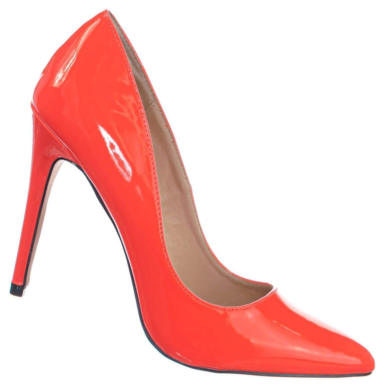 Neon Orange Patent / Hibiscus27 NOrgPt Pointed Toe High Heel Pump - Women Classic Office Dress Shoes