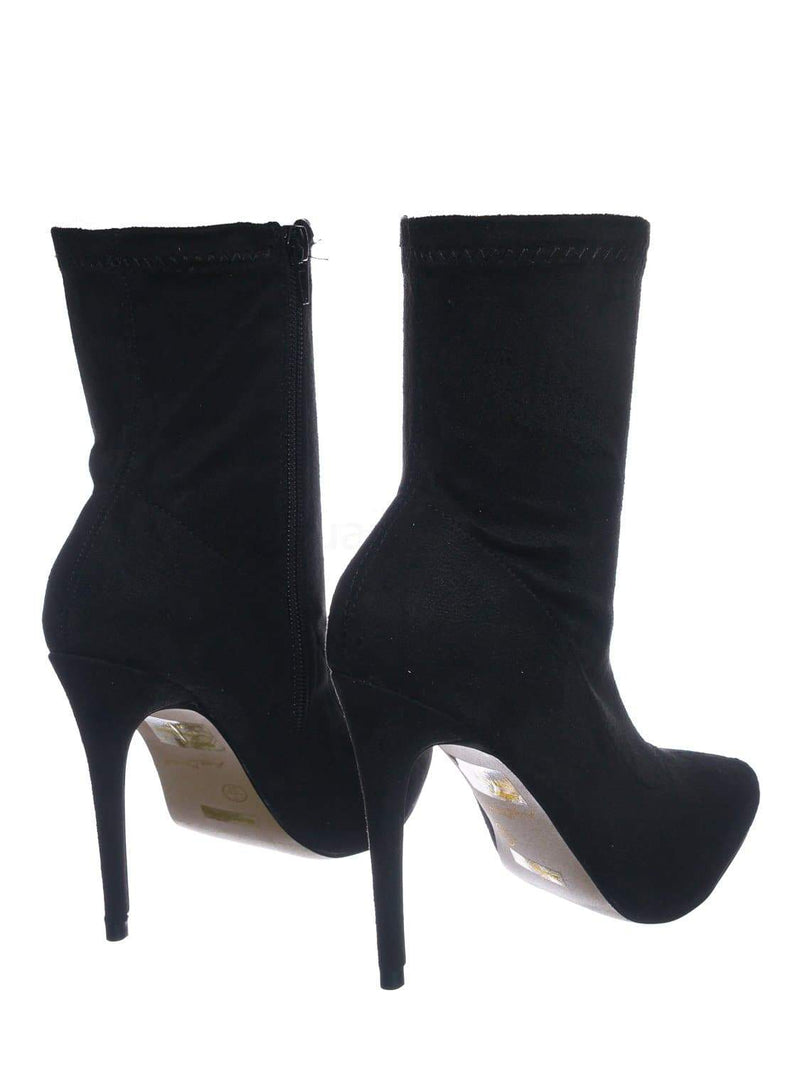Black Pu / Hibiscus40 BlkSFs High Heel Dress Bootie - Women Ankle Slouch Boots