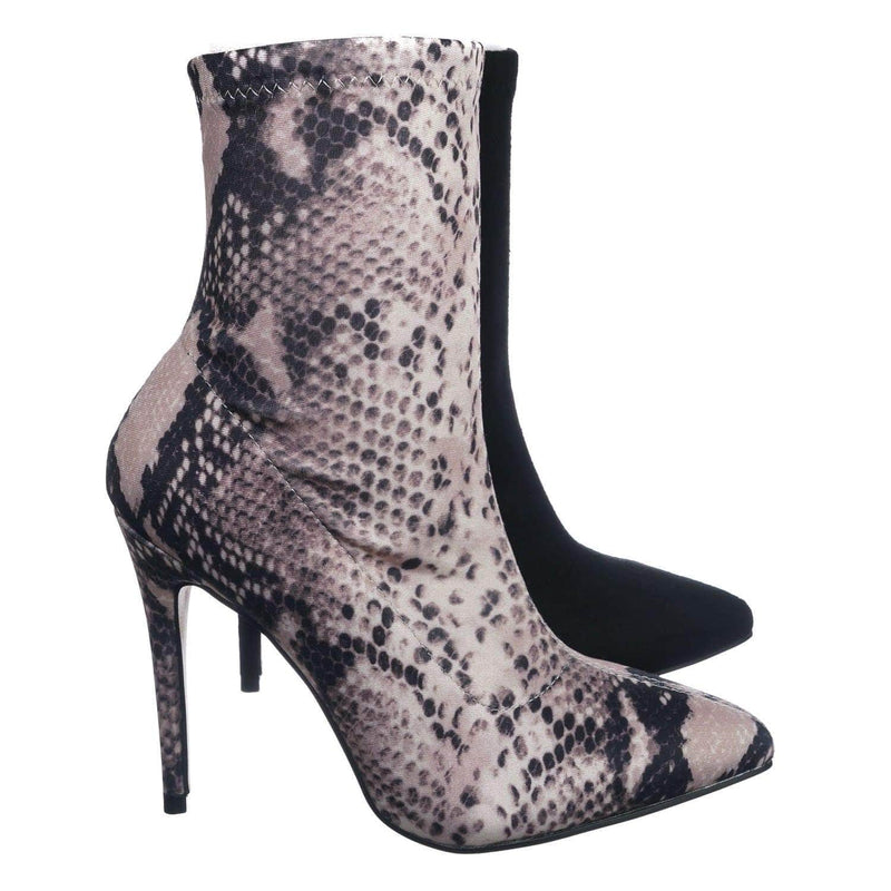 Snake Lycra / Hibiscus40 SnkLyc High Heel Dress Bootie - Women Ankle Slouch Boots
