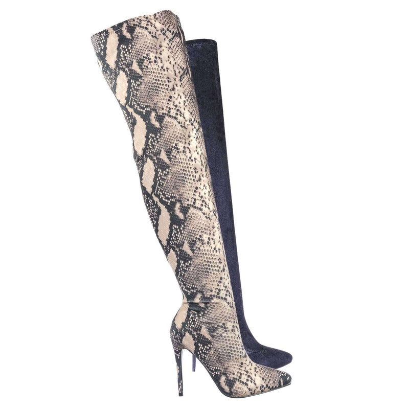Snake Lycra / Hibiscus42 Thigh High OTK Stiletto Boots - Womens Over Knee Sock Pumps