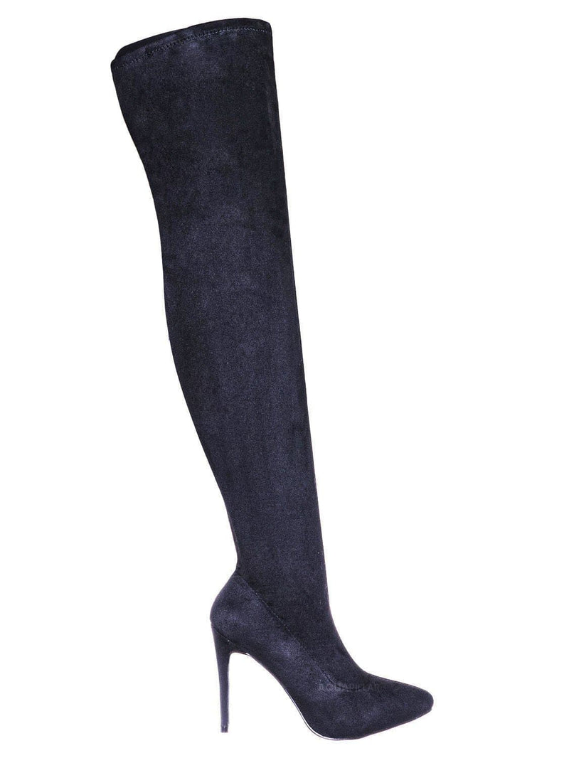 Black / Hibiscus42 Thigh High OTK Stiletto Boots - Womens Over Knee Sock Pumps