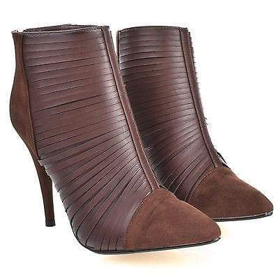 Lonestar19 Brown By Anne Michelle, Splicing Cut Out Pointy Toe Stiletto Heel Bootie Sandal