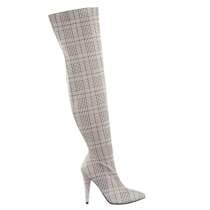 Magnolia08 GryPld Thigh High Over The Knee Boots Heel Pointed Heel Elastic Shaft