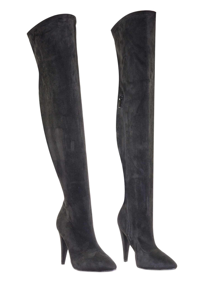 Magnolia08 BlkSFs Thigh High Over The Knee Boots Heel Pointed Heel Elastic Shaft