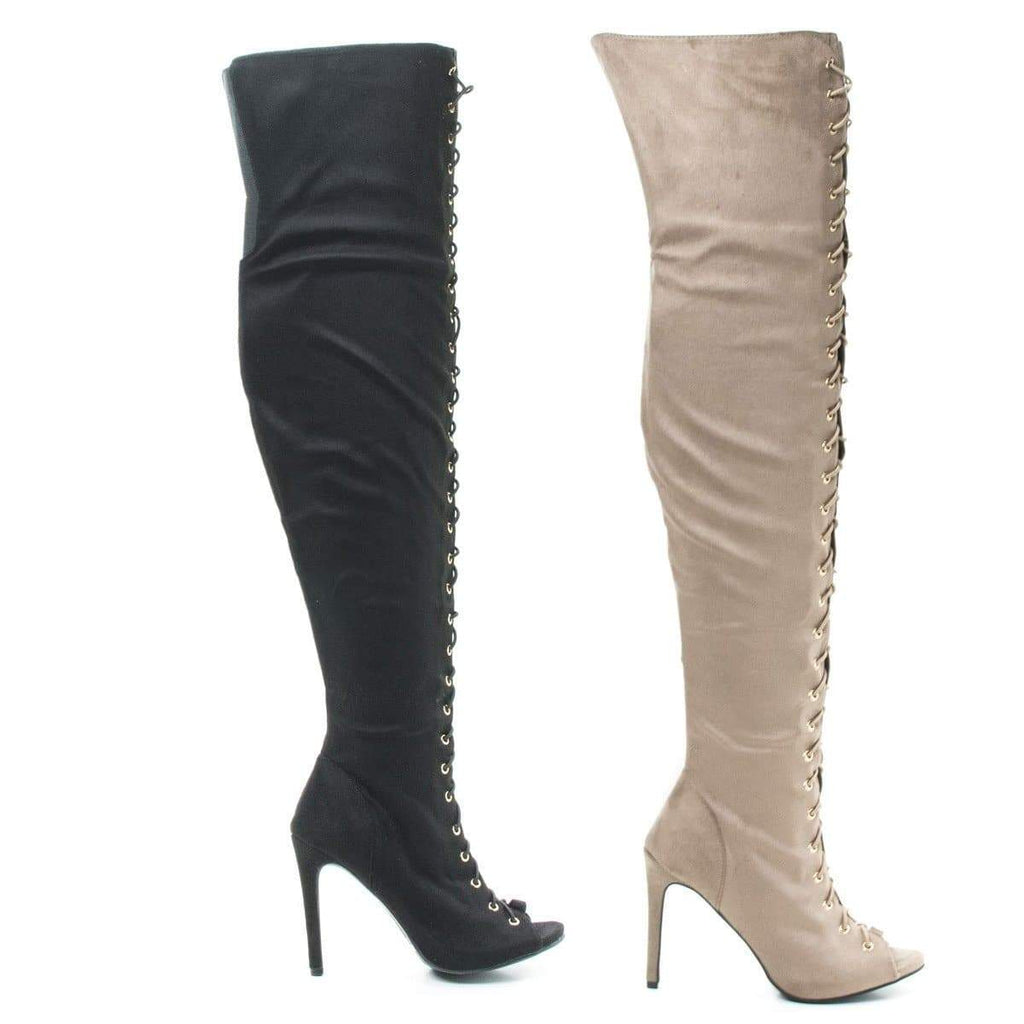 Onelove61m Taupe By Anne Michelle, Peep Toe Corset Elastic Lace OTK Over Knee High Heel Dress Boots