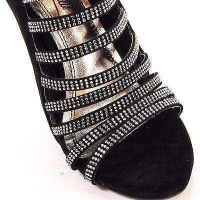 Perton19 Black By Anne Michelle, IKS Stiletto Formal Dress Crystal Studded Strappy Open Toe Sandal