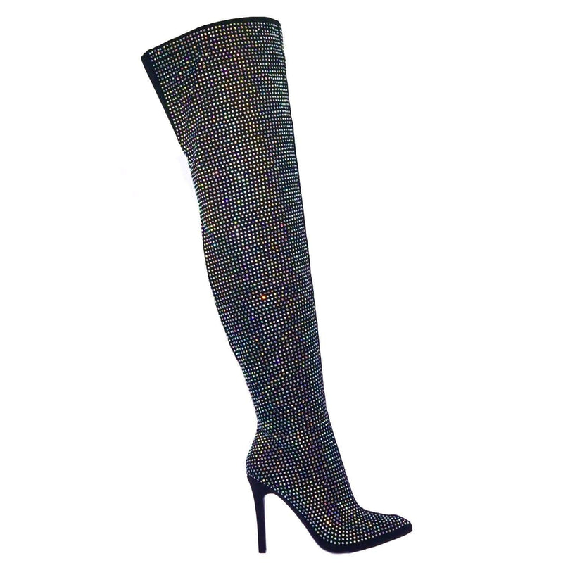 Pledge28 BlkClr Fur Lined Over The Knee OTK Thigh High Rhinestone Embellish Dress Boot