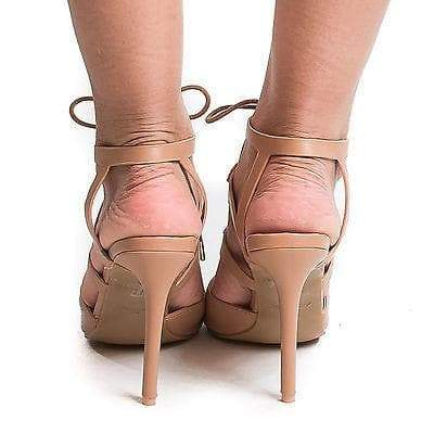 Riseup27M Natural Pu By Anne Michelle, Pointy Toe Studded Caged Lace Up Stiletto Heel Pumps