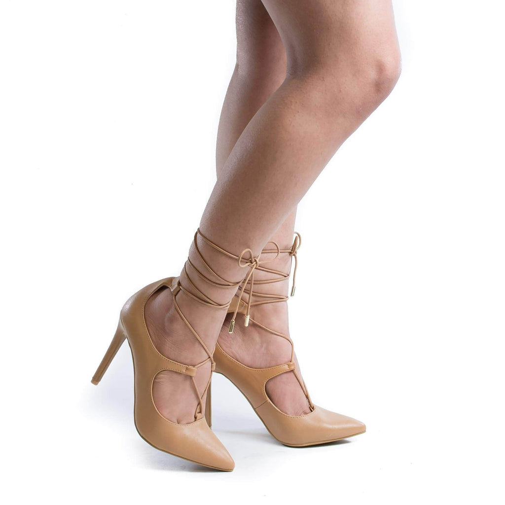 Riseup31V Natural Pu By Anne Michelle, Pointy Toe Corset Lace Up Leg Wrap Stiletto Heel Pumps