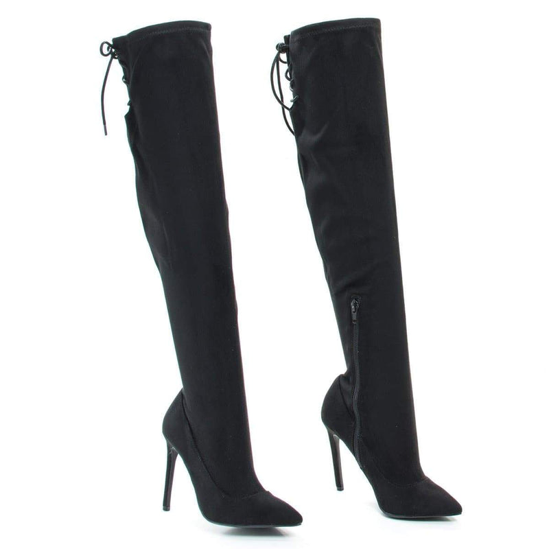 Riseup65s by Anne Michelle, Pull-On High Heel Over Knee Boot w Lace Tie Fastening Drawstring