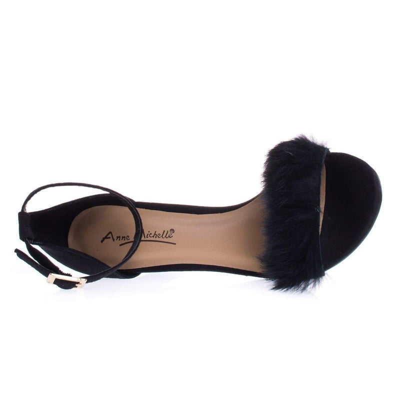 Truelove39M By Anne Michelle Fluffy Faux Feathery Fur High Heel Sandal