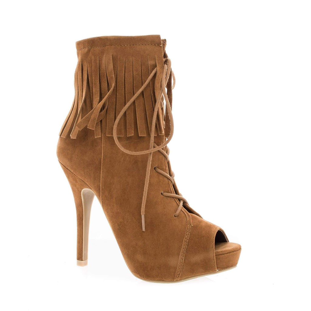 Verdict88 Chestnut By Anne Michelle, Peep Toe Corset Lace Up Ankle Cuff Fringe Stiletto Booties