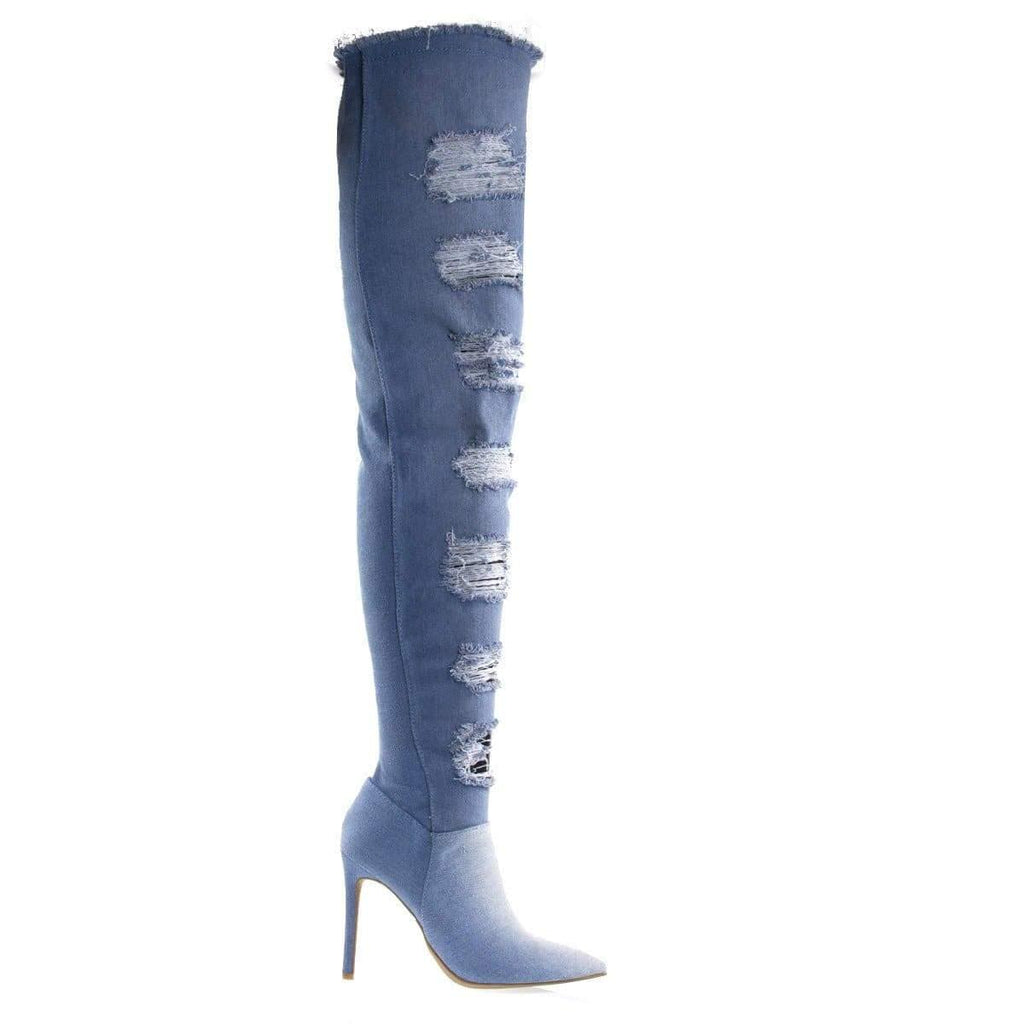 Worship39S Blue Jean Denim By Anne Michelle Torn / Destroyed Jean Boot, OTK Over Knee Heel Boot, Fray Trim