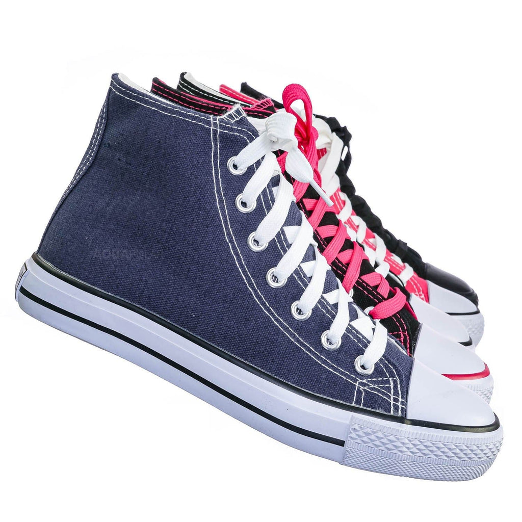 AQ25 Canvas High Top Sneaker - Unisex Rubber Casual Walking Shoes