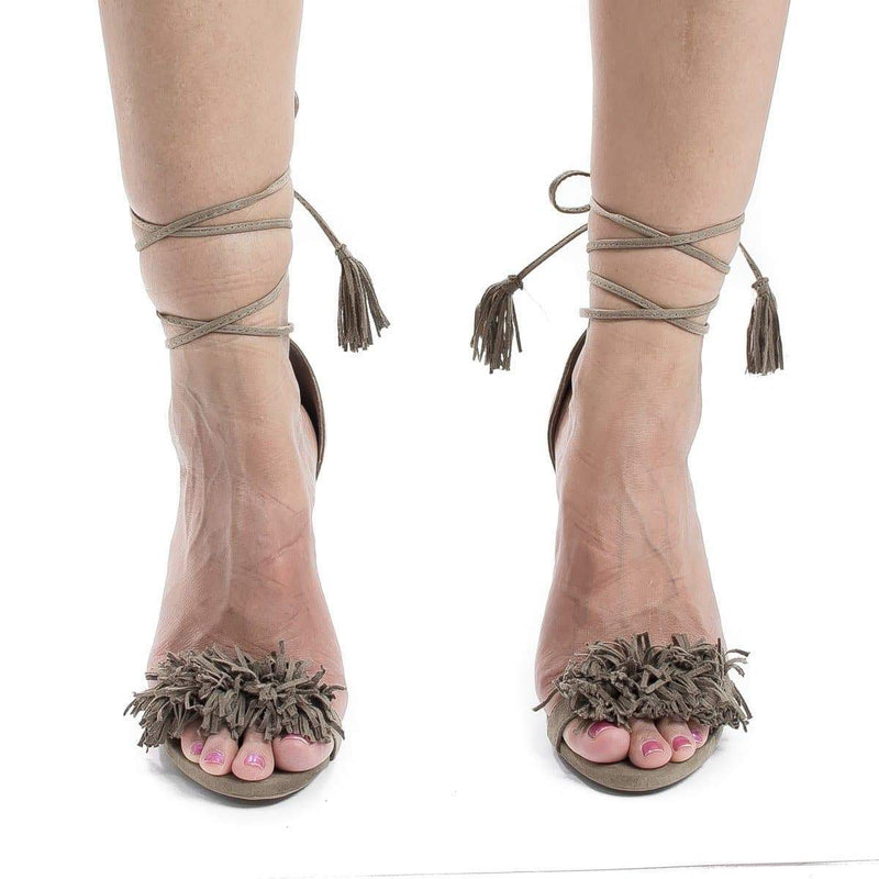 Berlin100 Taupe By Aquapillar, Open Toe Fringe Leg Wrap Stiletto Heel Pumps