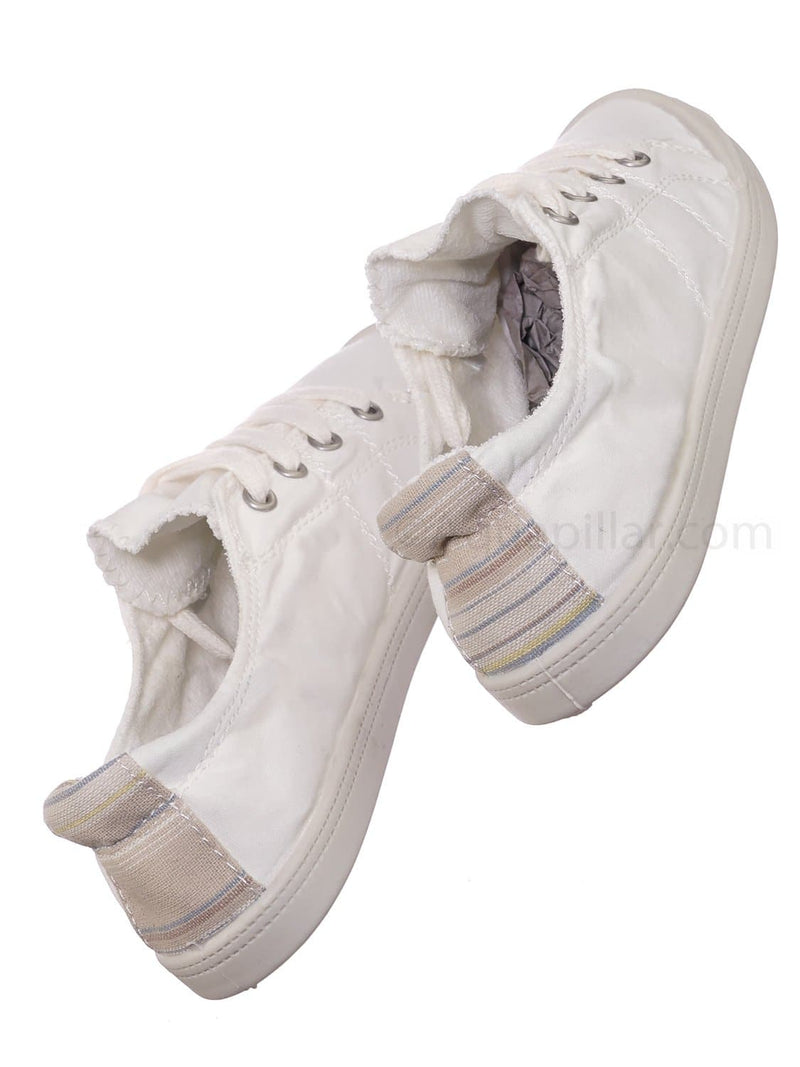 Comfort01 White Vintage Flexible Rubber Sneaker - Women Canvas Comfort Bendable Shoes