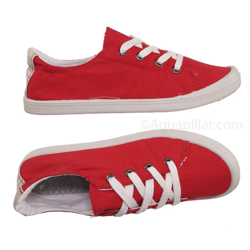 Comfort01 Red Vintage Flexible Rubber Sneaker - Women Canvas Comfort Bendable Shoes