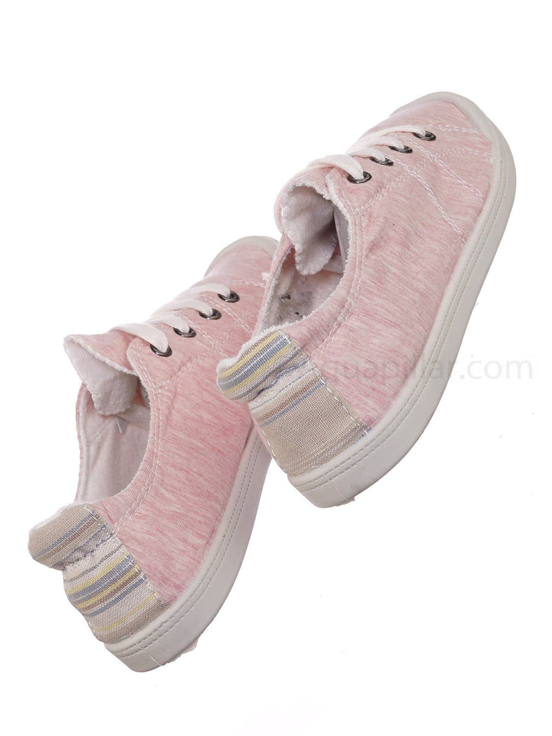 Comfort01 Pink Vintage Flexible Rubber Sneaker - Women Canvas Comfort Bendable Shoes