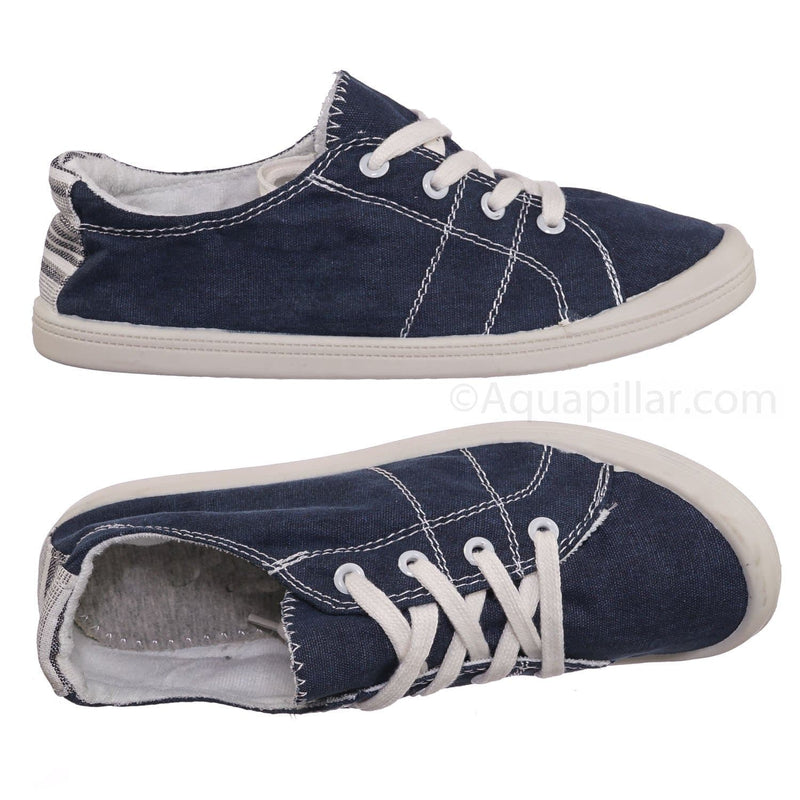 Comfort01 Navy Vintage Flexible Rubber Sneaker - Women Canvas Comfort Bendable Shoes