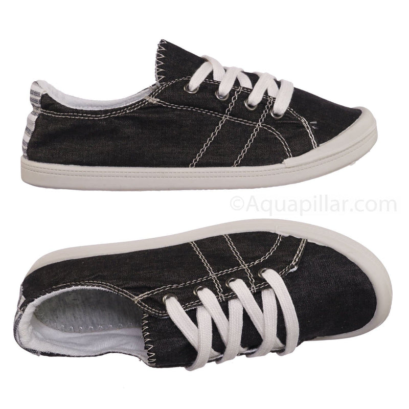 Comfort01 Black Vintage Flexible Rubber Sneaker - Women Canvas Comfort Bendable Shoes
