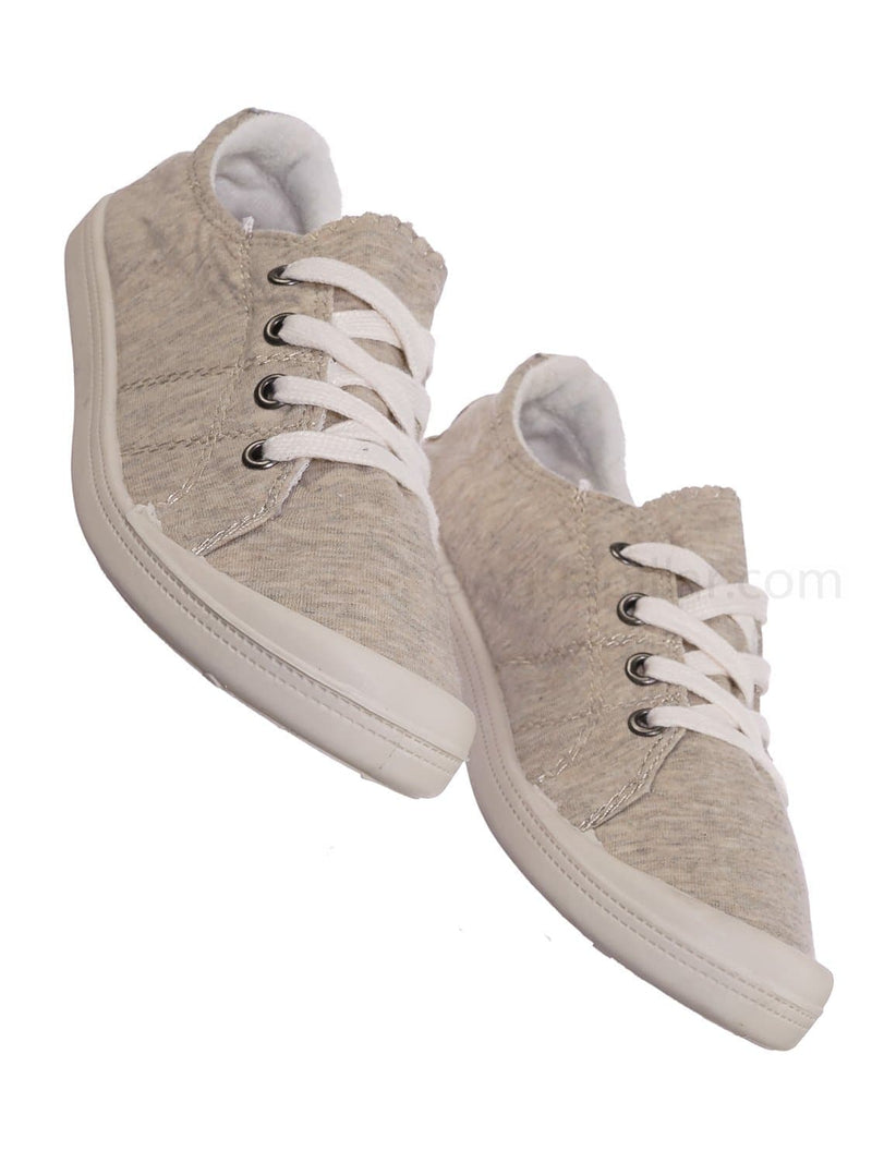 Comfort01 Beige Vintage Flexible Rubber Sneaker - Women Canvas Comfort Bendable Shoes