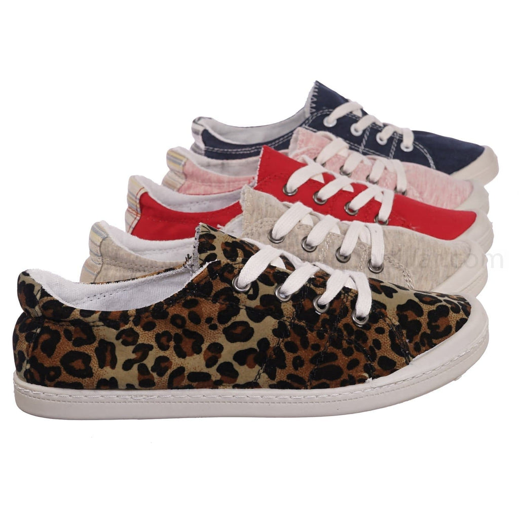 Comfort01 Leop Vintage Flexible Rubber Sneaker - Women Canvas Comfort Bendable Shoes
