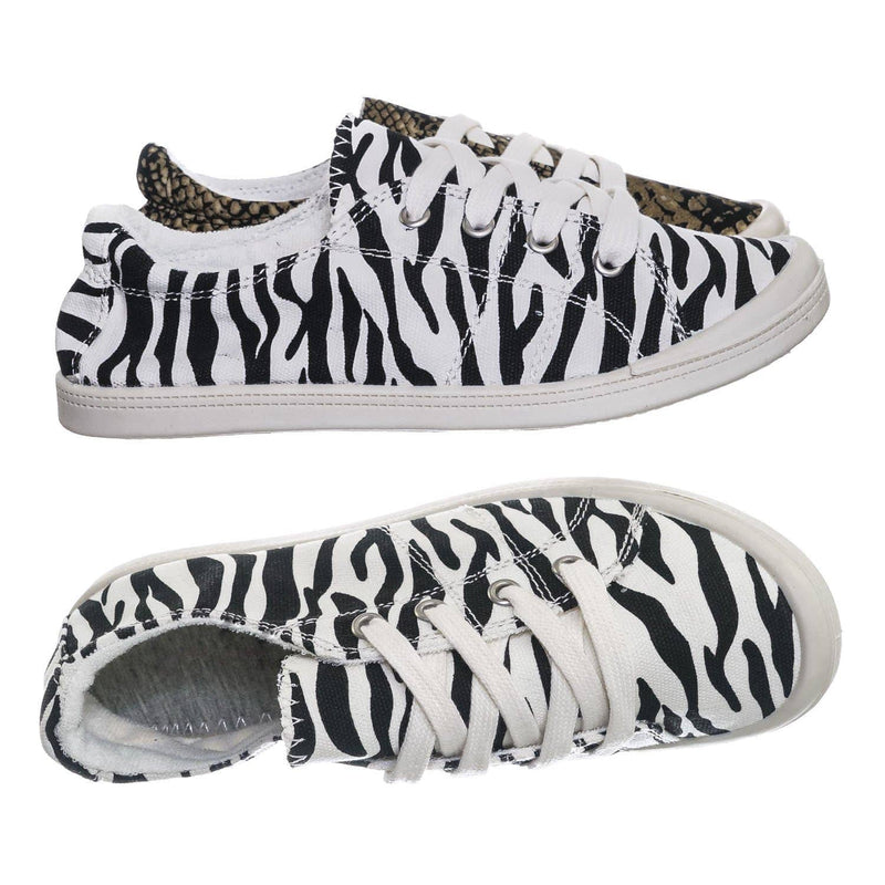 Comfort01 Zebra Vintage Flexible Rubber Sneaker - Women Canvas Comfort Bendable Shoes