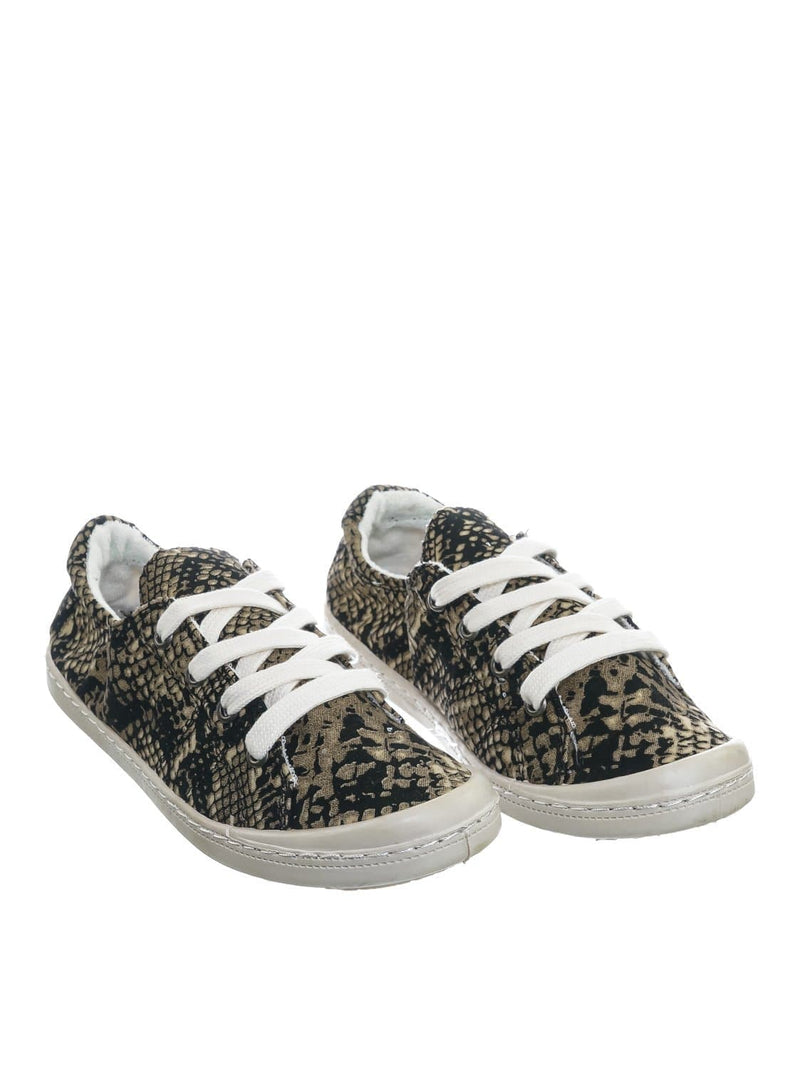 Comfort01 Snake Vintage Flexible Rubber Sneaker - Women Canvas Comfort Bendable Shoes